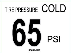Tire Pressure Decal 65 PSI