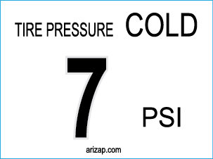 Tire Pressure Sticker / Decal 7 PSI - White