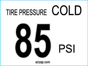 Tire Pressure Decal 85 PSI