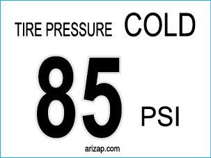 Tire Pressure Sticker 85 PSI
