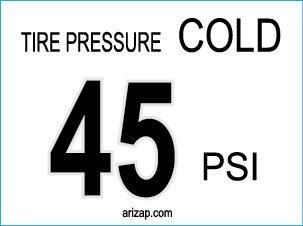 Tire Pressure Sticker 45 PSI