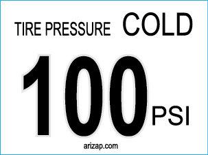 Tire Pressure Sticker / Decal 100 PSI - White