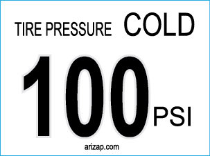 Tire Pressure Decal 100 PSI - Clear