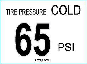Tire Pressure Sticker 65 PSI