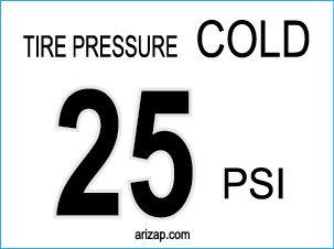 Tire Pressure Sticker / Decal 25 PSI - White