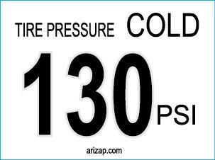 Tire Pressure Sticker 130 PSI