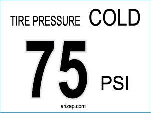 Tire Pressure Decal 75 PSI
