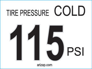 Tire Pressure Sticker / Decal 115 PSI - White