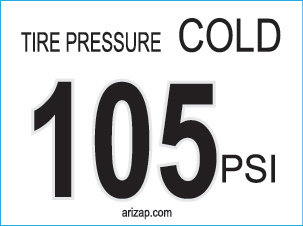 Tire Pressure Sticker 105 PSI