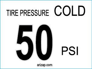 Tire Pressure Decal 50 PSI