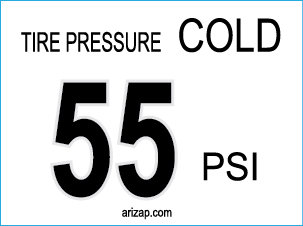 Tire Pressure Decal 55 PSI