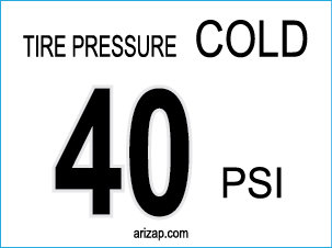 Tire Pressure Sticker 40 PSI