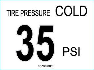 Tire Pressure Sticker 35 PSI