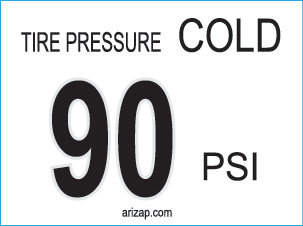 Tire Pressure Decal 90 PSI