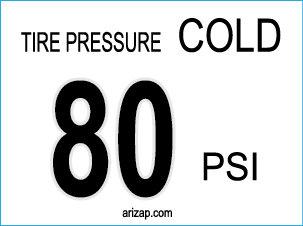 Tire Pressure Sticker 80 PSI