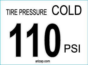 Tire Pressure Sticker / Decal 110 PSI - White
