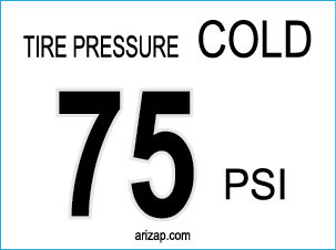 Tire Pressure Decal 75 PSI