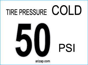 Tire Pressure Sticker 50 PSI