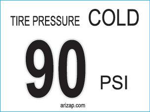 Tire Pressure Sticker 90 PSI
