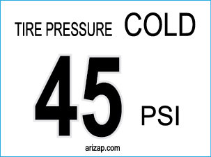Tire Pressure Decal 45 PSI