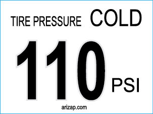 Tire Pressure Decal 110 PSI