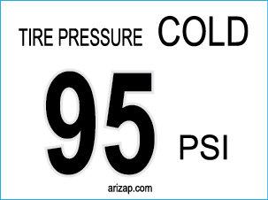Tire Pressure Sticker / Decal 95 PSI - White