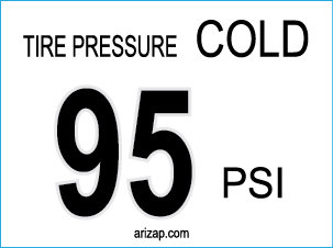 Tire Pressure Decal 95 PSI - Clear