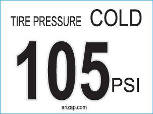 Tire Pressure Decal 105 PSI