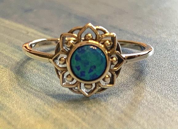 Blue Opal Mandala Ring