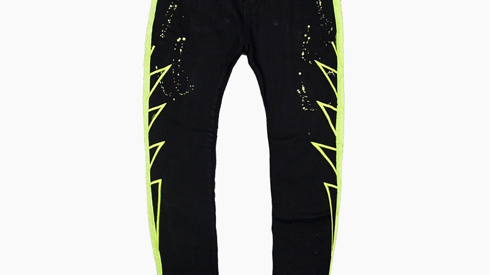 Vie+riche black and neon green denim jeans