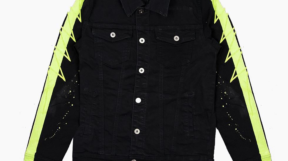 Vie+riche black and neon green denim jacket