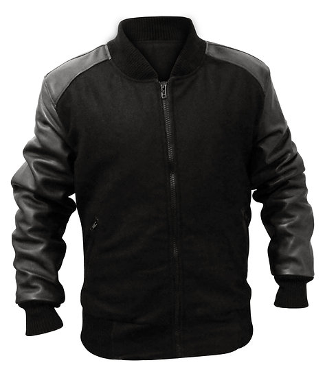 Fabric Black Leather Sleeves Jacket