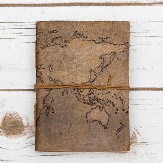 World Map Handmade Leather Journal