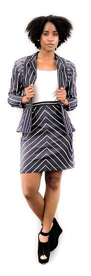 Denim Stripe Skirt Suit (Special Item)