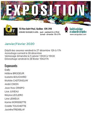 Exposition Off Galerie: 5 janvier au 28 février 2020