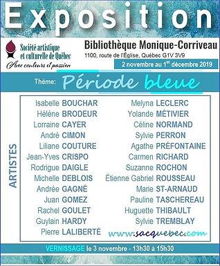 Exposition bibliothèque Monique Corriveau : 2 novembre au 1er décembre 2019