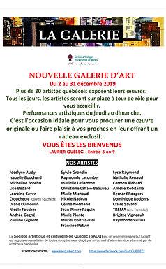 Exposition à La Galerie SACQ (Laurier Québec) : 2 au 31 décembre