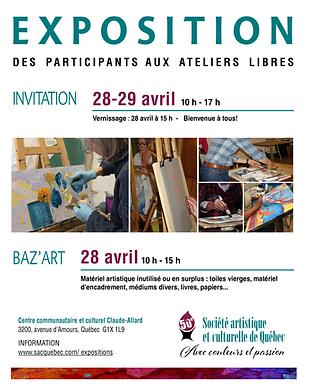 Expo Atelier SACQ: 28 et 29 avril 2018