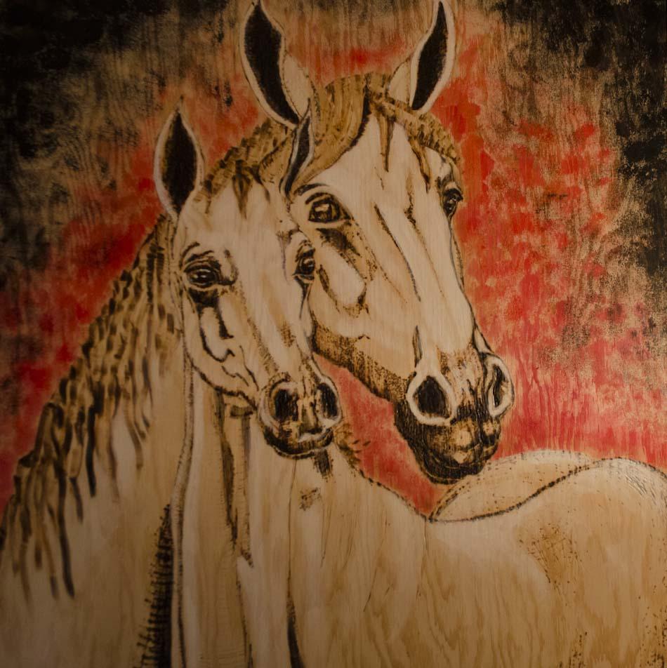 Pyrogravure cheval