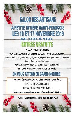 Salon des artisans de Petite-Rivière-Saint-François:16 et 17 novembre 2019