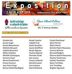 Exposition à la Galerie Chez Alfred-Pellan : 2 au 31 août 2019