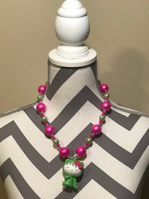 Pink And Green Hello Kitty Dinosaur Necklace