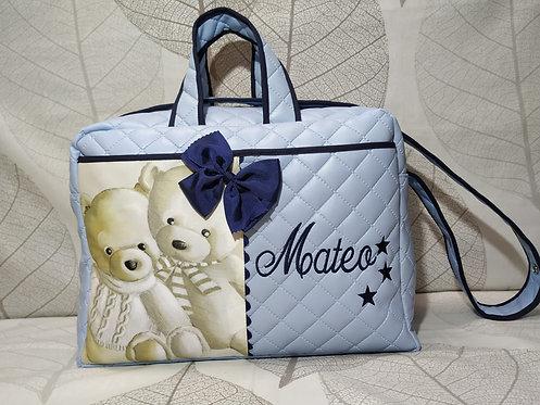 Bolso hospital y carrito bebé personalizado-MODELO MATEO AZUL