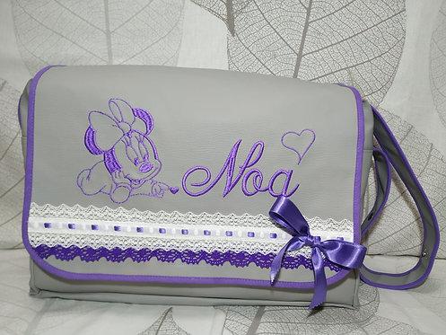 Bolso carro bebé con solapa personalizado-MODELO MINNIE BORDADA LILA