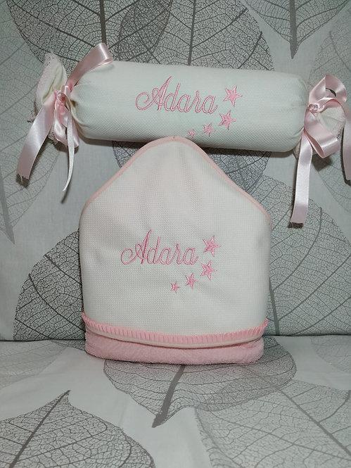 Capa-toalla de baño bebé + Cojín anti-vuelco bordado a juego-MODELO ADARA