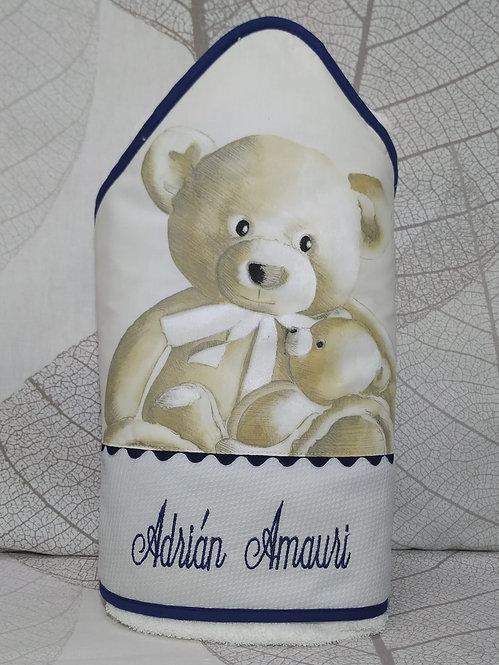 Capa para el baño del bebé (toalla-capa) personalizada con nombre - OSOS