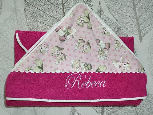 Capa de baño para bebé bordada y personalizada-MODELO OVEJAS