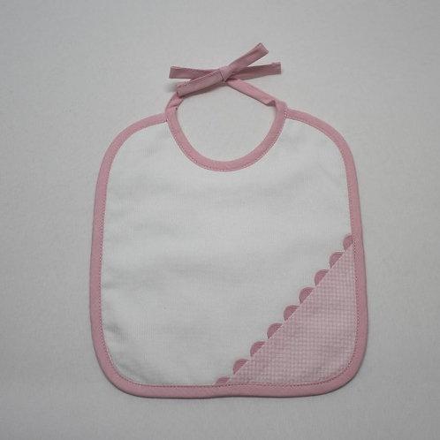 Babero para bebé bordado hecho a mano-VICHY ROSA