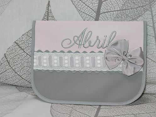 Portatoallitas y pañales  personalizado bebé- DUO GRIS-ROSA
