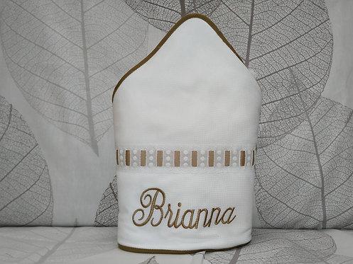 Toalla-capa de baño bebé bordada y personalizada- ENTREDÓS CAMEL